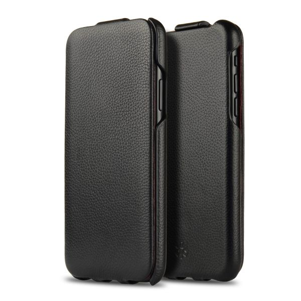 Novada Duke iPhone X & XS Genuine Leather Flip Case Cover - Black