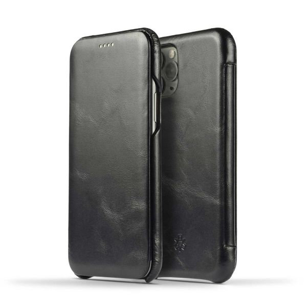 Novada Genuine Leather iPhone 11 Flip Case Cover - Vintage Collection - Black