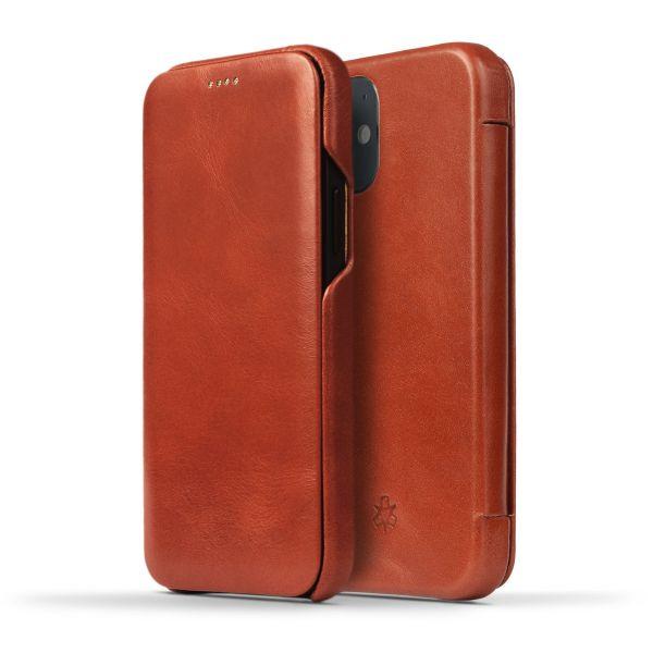 Novada Genuine Leather iPhone 12 Mini Case - Flip Cover Tan