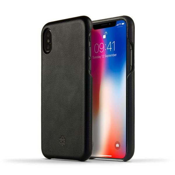 Novada Genuine Leather Back Cover Case for Apple iPhone X & XS - Vintage Collection - Black