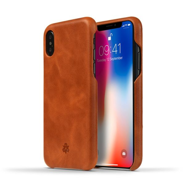 Novada Genuine Leather Back Cover Case for Apple iPhone X & XS - Vintage Collection - Tan