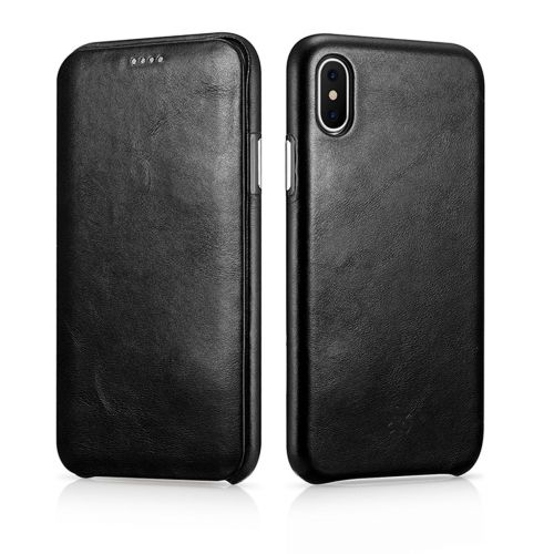 Novada Genuine Leather iPhone X & XS Flip Case Cover - Vintage Collection - Black