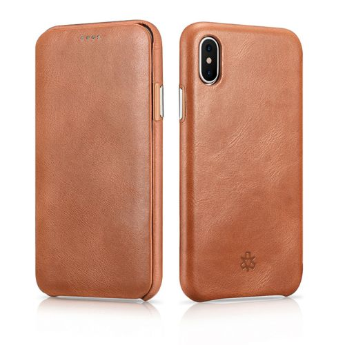 Novada Genuine Leather iPhone X & XS Flip Case Cover - Vintage Collection - Tan