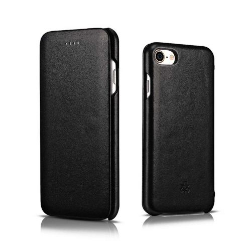 Novada Genuine Leather iPhone 7, 8 & SE Flip Case Cover - Classic Collection- Black