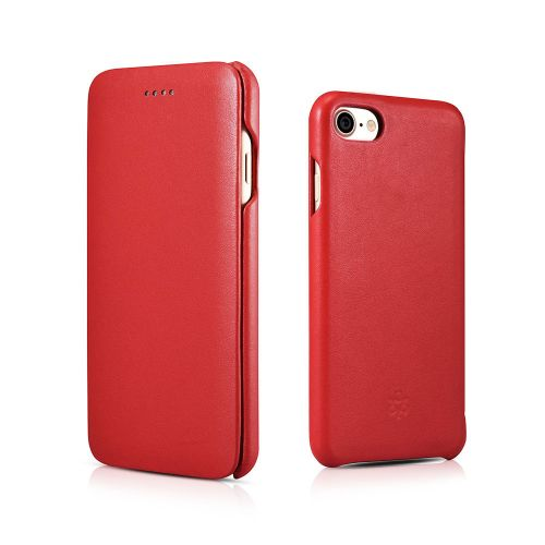 Novada Genuine Leather iPhone 7, 8 & SE Flip Case Cover - Classic Collection - Red