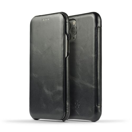 Novada Genuine Leather iPhone 11 Pro Max Flip Case Cover - Vintage Collection - Black