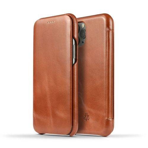 Novada Genuine Leather iPhone 11 Pro Max Flip Case Cover - Vintage Collection - Tan