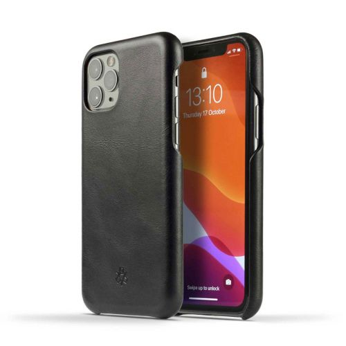 Novada Genuine Leather iPhone 12 Back Case Cover - Black
