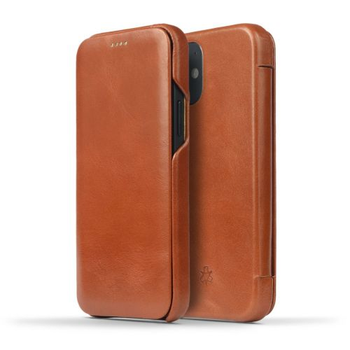 Novada Genuine Leather iPhone 12 Flip Case Cover - Tan