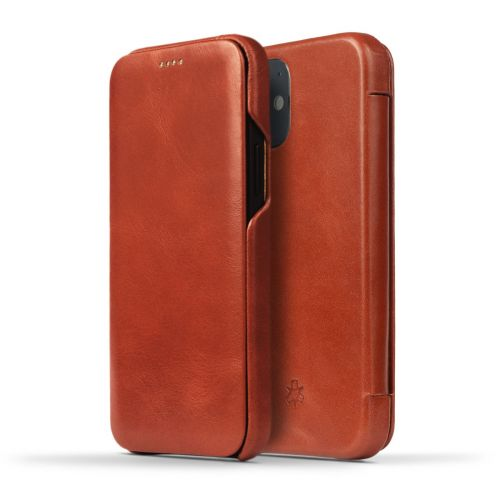 Novada Genuine Leather iPhone 12 Case -  Flip Cover Tan