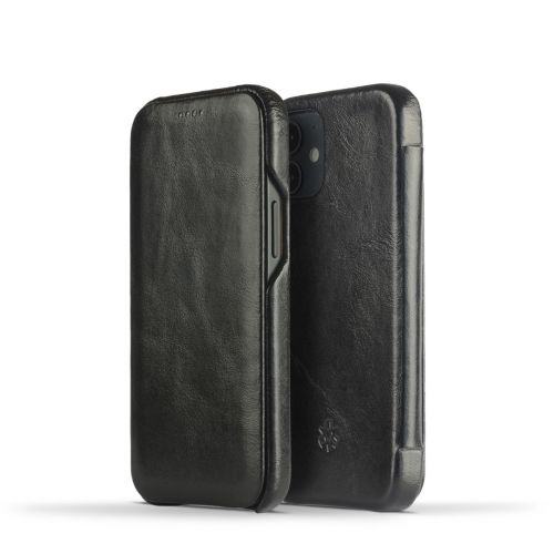 Novada Genuine Leather iPhone 12 Mini Case - Flip Cover Black