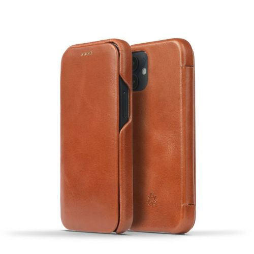 Novada Genuine Leather iPhone 12 Mini Flip Case Cover - Tan