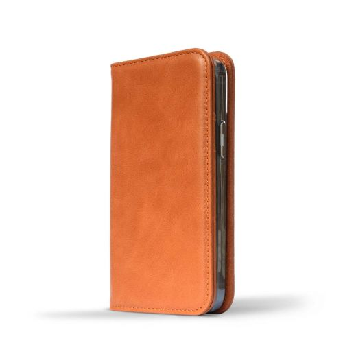 Novada Genuine Leather iPhone 12 Mini Case with Credit Card Wallet - Tan