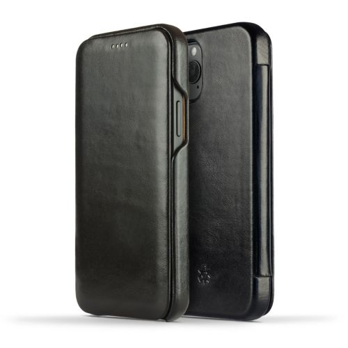 Novada Genuine Leather iPhone 12 Pro Case - Flip Cover Black