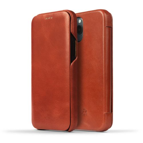 Novada Genuine Leather iPhone 12 Pro Case - Flip Cover Tan
