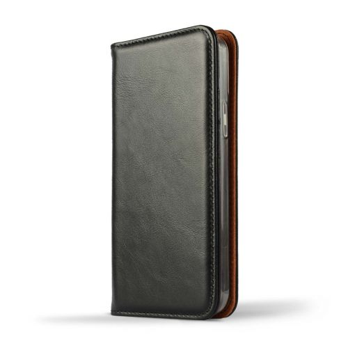 NOVADA Genuine Leather iPhone 12 Pro Case with Credit Card Wallet & Stand - Black
