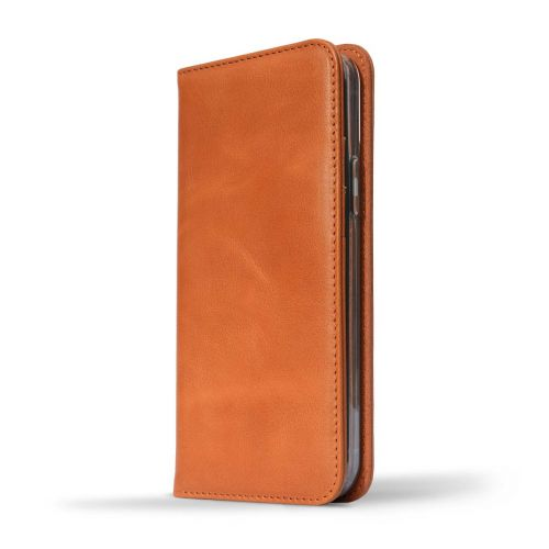NOVADA Genuine Leather iPhone 12 Pro Case with Credit Card Wallet & Stand - Tan