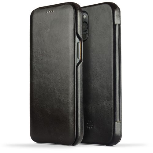 Novada Genuine Leather iPhone 12 Pro Max Case - Flip Cover Black