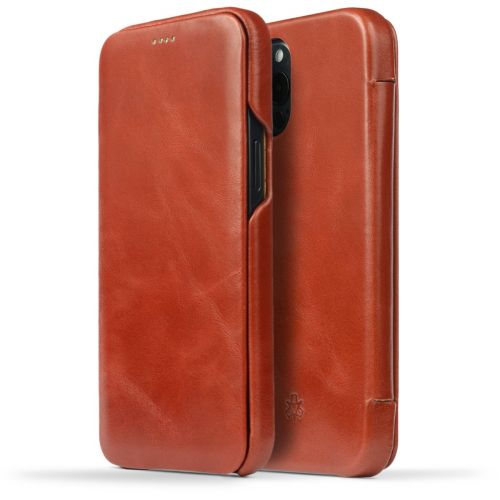 Novada Genuine Leather iPhone 12 Pro Max Case - Flip Cover Tan