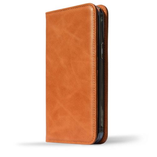 NOVADA Genuine Leather iPhone 12 Pro Max Case with Credit Card Wallet & Stand - Tan