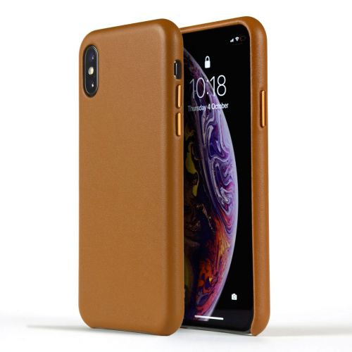 Novada Genuine Leather Back Cover Case for Apple iPhone X & XS - Classic Collection - Tan