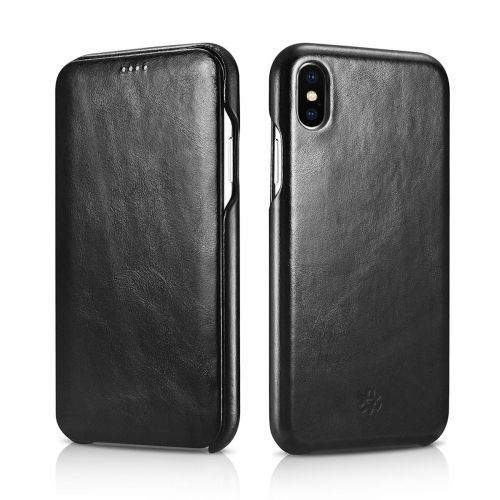 Novada Genuine Leather iPhone XS Max Flip Case Cover - Vintage Collection - Black