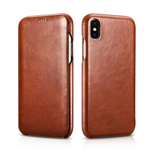 Novada Genuine Leather iPhone XS Max Flip Case Cover - Vintage Collection - Tan