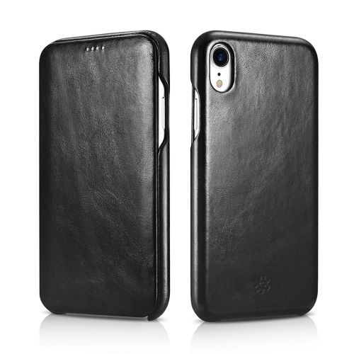 Novada Genuine Leather iPhone XR Flip Case Cover - Vintage Collection - Black
