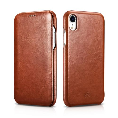 Novada Genuine Leather iPhone XR Flip Case Cover - Vintage Collection - Tan