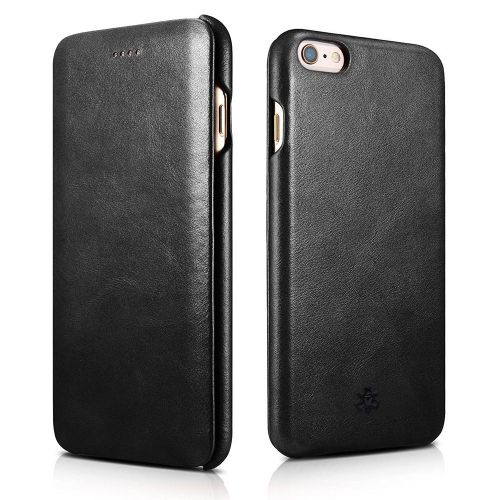 Novada Genuine Leather iPhone 6 6S Plus Flip Case Cover - Vintage Collection - Black