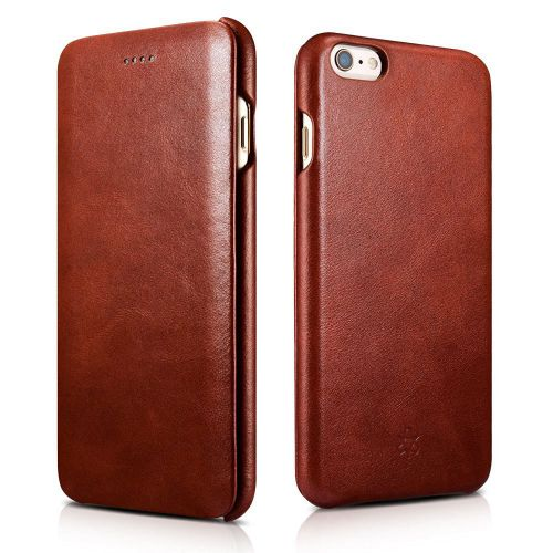 Novada Genuine Leather iPhone 6 6S Plus Flip Case Cover - Vintage Collection - Tan
