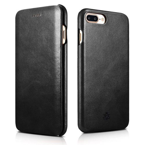 Novada Genuine Leather iPhone 7 Plus & 8 Plus Flip Case Cover - Vintage Collection - Black