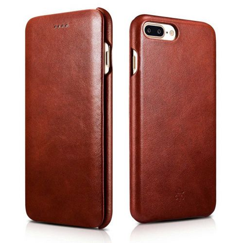 Novada Genuine Leather iPhone 7 Plus & 8 Plus Flip Case Cover - Vintage Collection - Tan
