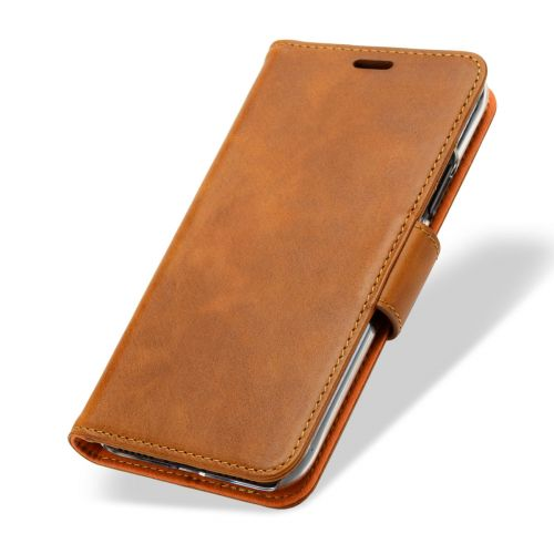 NOVADA Genuine Leather Wallet Flip iPhone X & XS Case Cover with Stand - Tan