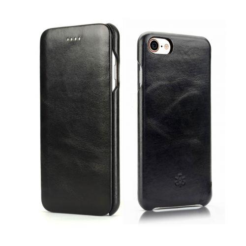 Novada Genuine Leather iPhone 7, 8 & SE Flip Case Cover - Vintage Collection - Black