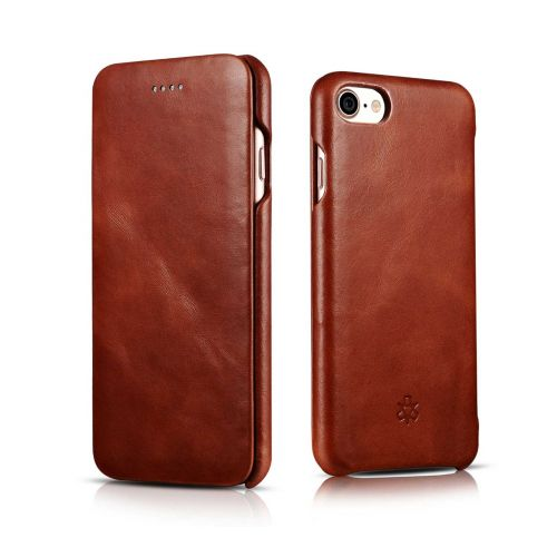 Novada Genuine Leather iPhone 7, 8 & SE Flip Case Cover - Vintage Collection - Tan