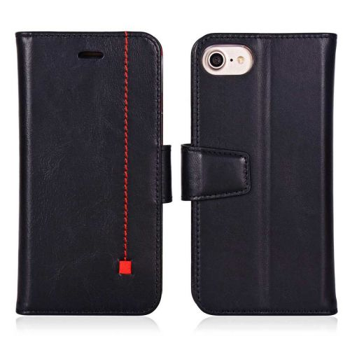 NOVADA iPhone 7 & 8 Genuine Leather Wallet Flip Case Cover with Stand & Buckle - Black