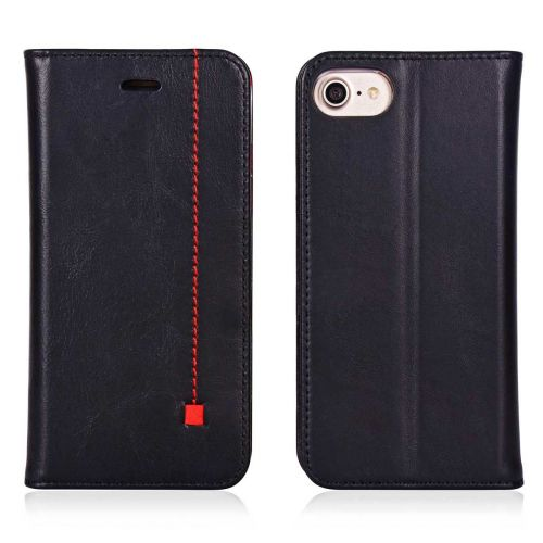 NOVADA iPhone 7 & 8 Genuine Leather Wallet Flip Case Cover with Stand - Black