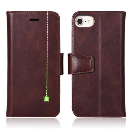 NOVADA iPhone 7 & 8 Genuine Leather Wallet Flip Case Cover with Stand & Buckle - Chocolate
