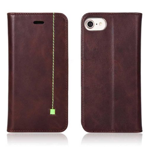 NOVADA iPhone 7 & 8 Genuine Leather Wallet Flip Case Cover with Stand - Chocolate