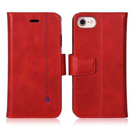 NOVADA iPhone 7 & 8 Genuine Leather Wallet Flip Case Cover with Stand & Buckle - Red