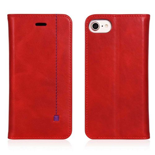 NOVADA iPhone 7 & 8 Genuine Leather Wallet Flip Case Cover with Stand - Red