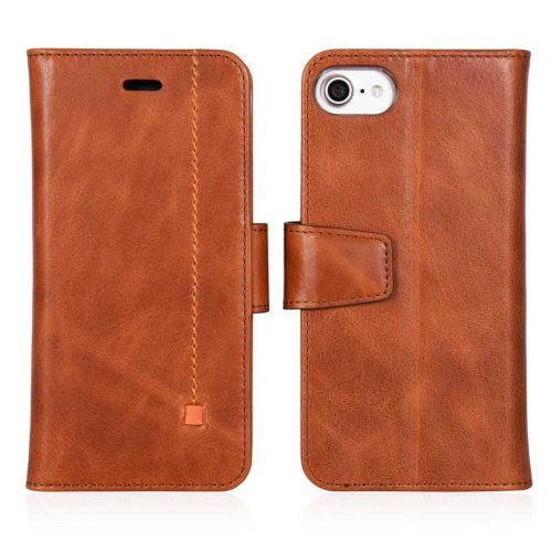 NOVADA iPhone 7 & 8 Genuine Leather Wallet Flip Case Cover with Stand & Buckle - Tan
